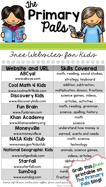 Send this free websites for kids printable home with your students to encourage learning at home!