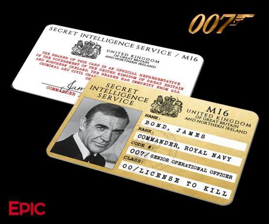 James Bond Inspired Sean Connery Secret Intelligence Service Id Epic Ids Bondcars James Bond Cars James Bond Party James Bond Sean Connery