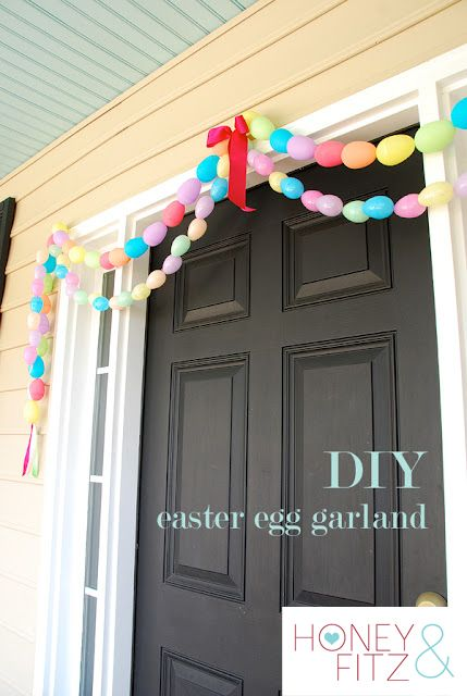 Easy Easter decor to make with the kiddos.  Great use for all those extra plastic eggs I found!