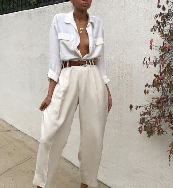 Vintage 100% silk cream menswear style trousers Si... - #cream #menswear #Si #Silk #style #trousers #Vintage