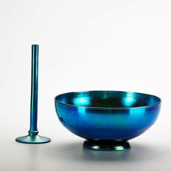 """Blue Aurene bud vase and bowl, Corning, NY, 1930s; Both marked; Bowl: 4"""" x 9"""" dia."""
