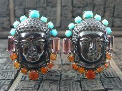 Iradj Moini Buddha Earclips with Obsidian, Turquoise & Carnelian
