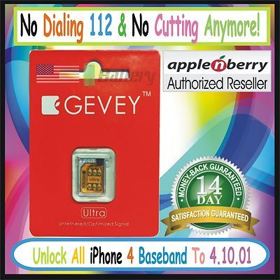 GENUINE ORIGINAL APPLENBERRY GEVEY ULTRA PRO Unlock Turbo Sim iPhone 4 4.10.01  ★100% GENUINE!!! WORKS ON PRESERVED BASEBAND iOS 5★  $9.99
