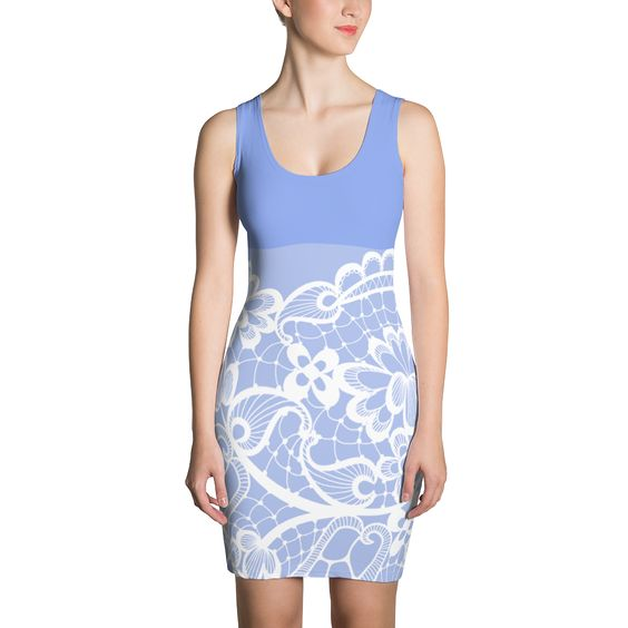 Lilac Lace Print - Fitted Dress - DogzPrinted