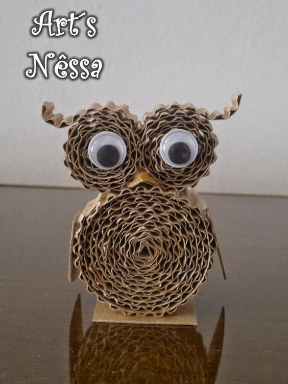 Art's Nêssa - Artesanato: Coruja feita com micro papel ondulado pardo