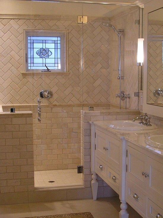 Shower tile patterns patterns and window on pinterest for Small bathroom herringbone tile