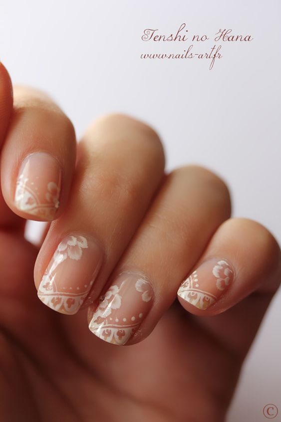 lace nails- a pretty alternative to french, subtle and delicate: Wedding Idea, French Manicure, Lace Wedding, Weddingnail, Nail Design