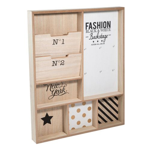 Porte courrier mural en bois blackstage maisons du monde my little workspace pinterest for Range courrier mural en bois