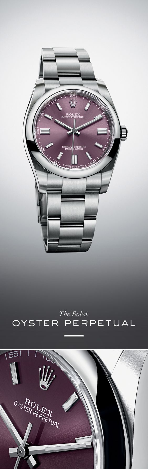 Rolex Oyster Perpetual 36 mm in 904L steel with a domed bezel, red grape dial and Oyster bracelet. #RolexOfficial