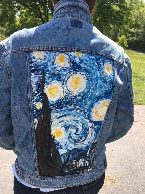 Van Gogh's Starry Night painted in acrylic on a denim jacket. I've been wanting to try this for a while and I'm so happy with the result #Jackets