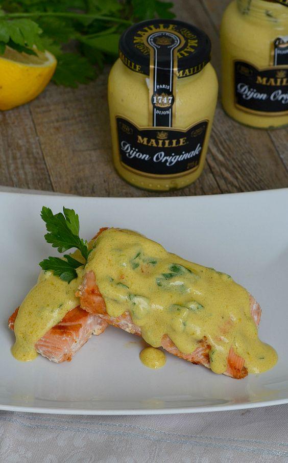 filetes de salmón con vinagreta de mostaza y limón