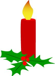 Holiday charm #clipart, #Christmas candle with holly, ClipArtandCrafts.com