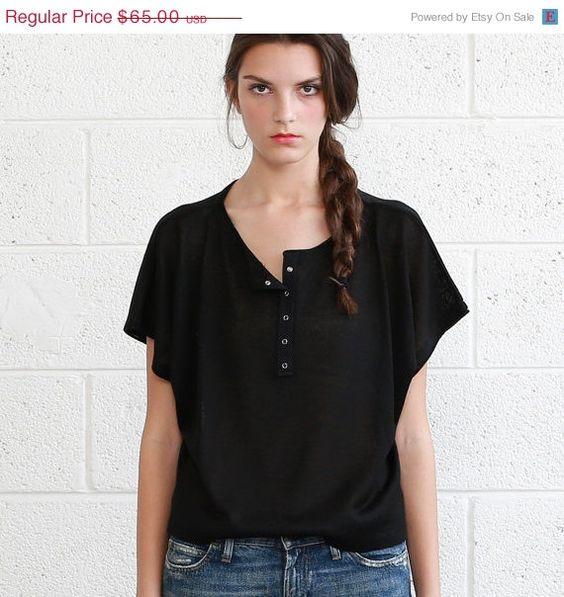 Big summer Sale Summer SALE Knit Black Oversized Shirt by naftul, $48.75