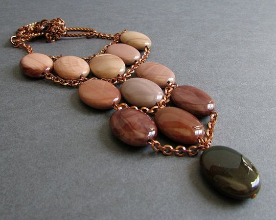 Horizon Necklace - Imperial Jasper Gemstone and Copper Statement Bib Necklace