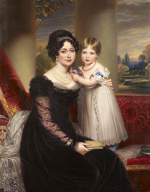 Victoire von Sachsen-Coburg-Saalfeld in Trauerkleidung (wegen des Todes ihres Ehemannes) mit der kleinen Victoria, vermutlich 1820/21