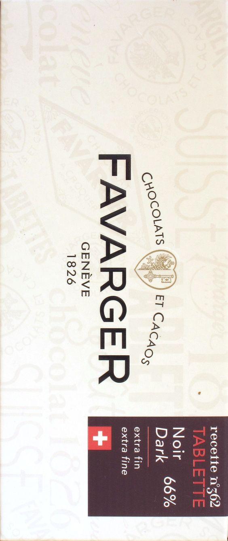 Favarger Recette N° 362 Chocolat Noir 66%