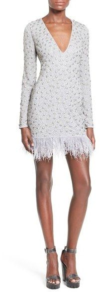 MISSGUIDED Embellished Feather Trim Minidress