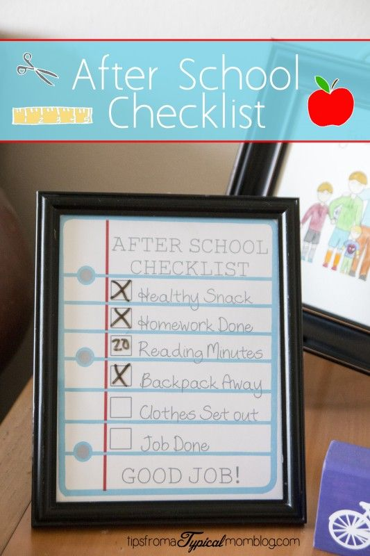 After School Checklist for Kids. Get a healthy snack, homework, reading and other important things done before play time. My kids get upset when I bring them in from playing to do their homework, using this checklist gets it all done so they can play the rest of the day. #backtoschool #checklist