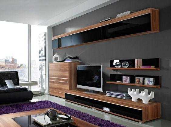 Fenja Wohnwand III walnuss\/schwarz, Hochglanz #modern #wohnzimmer - wohnwand modern klein