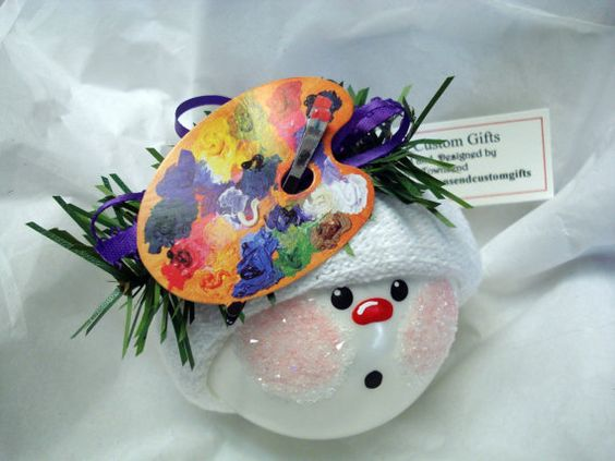 Artist Snowman Ornament Christmas Tree Bulb Hand Painted Glass Themed with art pallet and brush Per