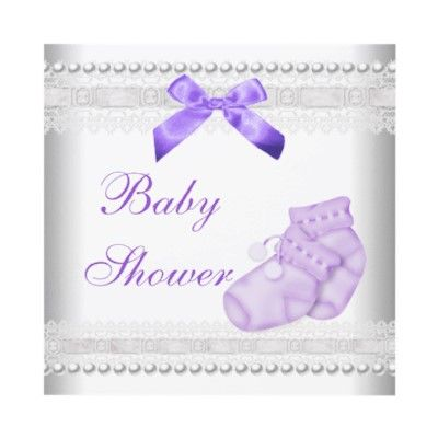 Baby Shower Baby Lilac Booties Pearl Lace Invite