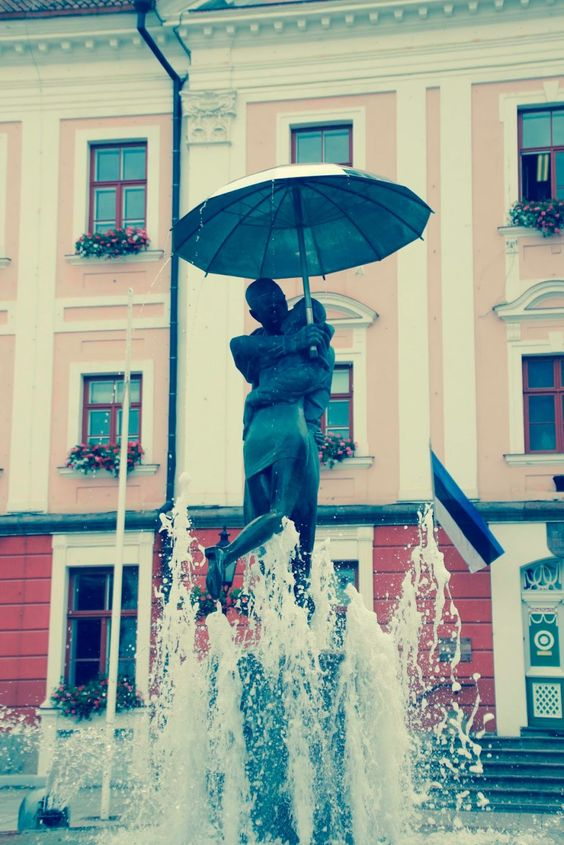 The Kissing Students fountain in Tartu, Estonia.