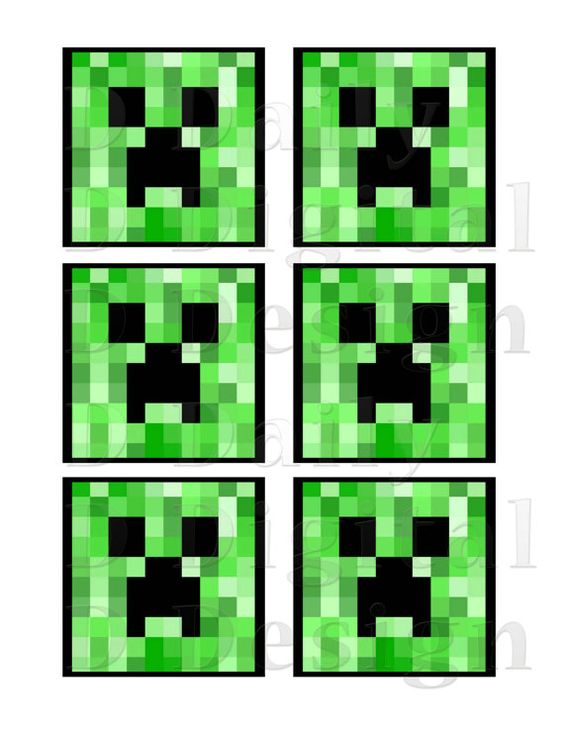 Minecraft Creeper DIY Printable 3 inch Squares for Cookie ...