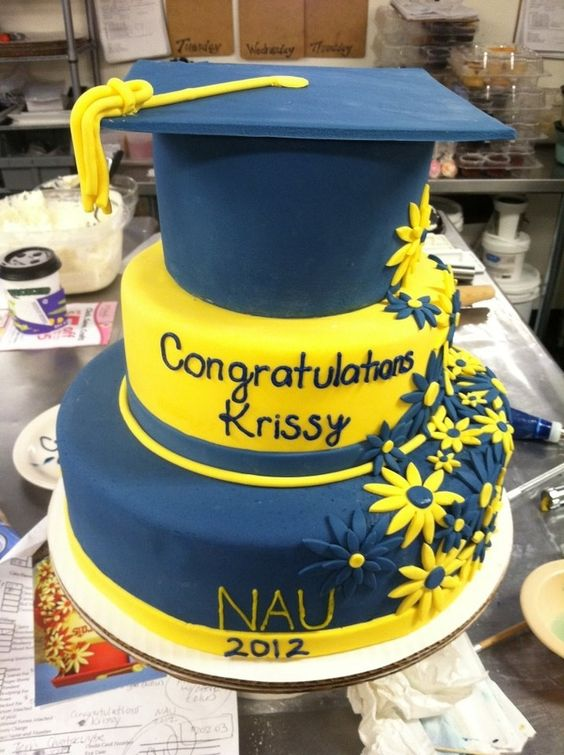 Blue And Yellow Cake Graduation Cupcakes Pinterest