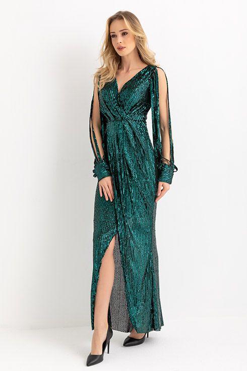 Kol Kesik Uzun Pullu Abiye Yesil Elbise Modelleri The Dress Giyim