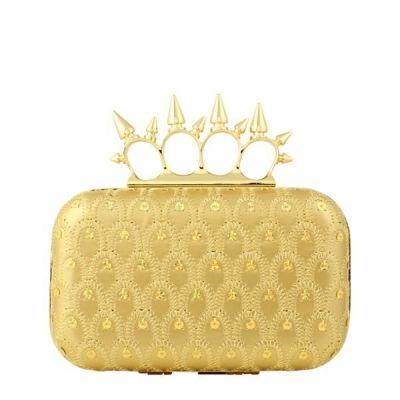 Bolsa Clutch Anéis Spikes e Paetês Dourada | Ligada na Moda