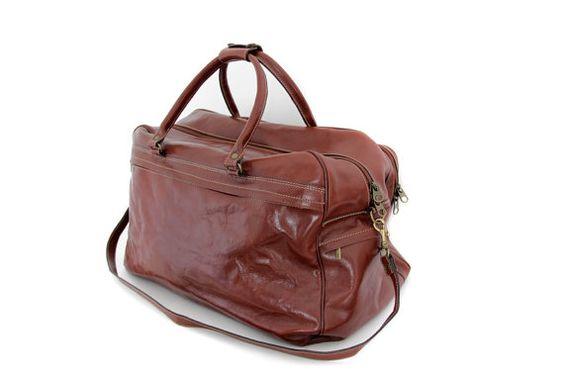 Vintage bag / large Katana Paris leather travel duffle by nemres