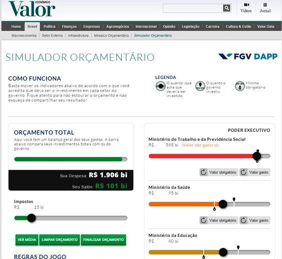 Valor Econômico - Simulador orçamentário