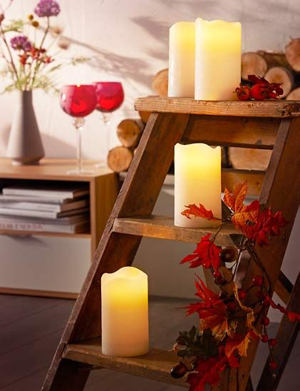 I like the idea to use an old ladder for candles