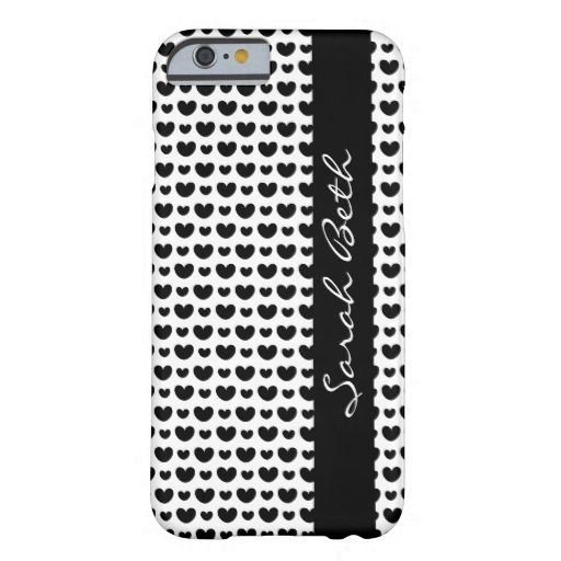 Cute B&W iPhone Case, Black Hearts on White, personalize with your name on the matching black ribbon down the side.