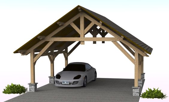 Porte cochere width of 21 feet timber frame pavilion for Pavilion cost per square foot