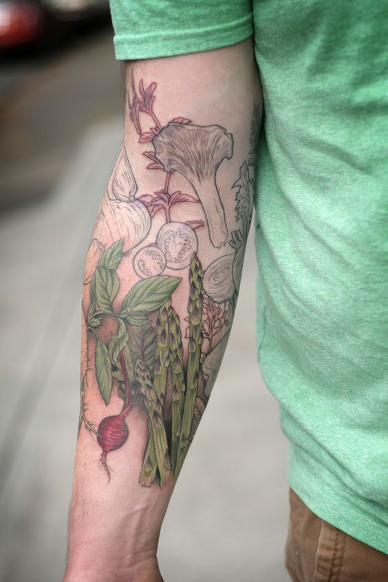 progress shot of a chef's culinary sleeve by alice kendall!