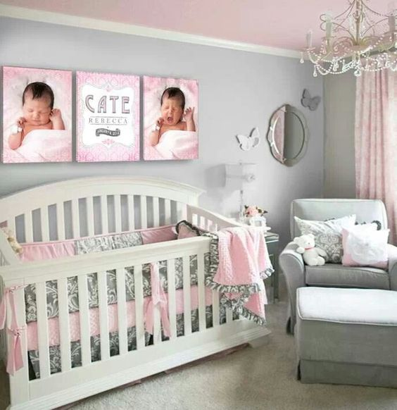 Grey and pink nursery baby girl z pinterest pink for Pink and grey nursery fabric