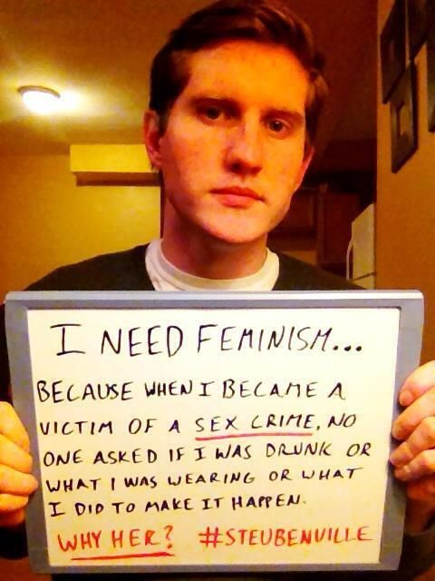 """TheAnnotatedZoetrope no Twitter: """"""""I need feminism because..."""" brave man making stand against rape culture via @being_feminist #steubenville http://t.co/hNDSAnZwXb"""" ."""