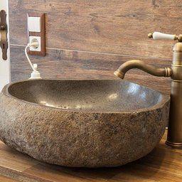Flußsteinwaschbecken 50 cm groß Flusskiesel Waschschale Naturstein Waschbecken