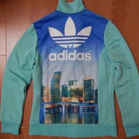 track jacket miami night city sky line  Brand new never wore ⚾️ track jacket ⚾️ adidas brand here for exposure  Urban Outfitters Jackets & Coats