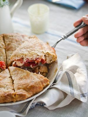 Summer Tomato Pie: plum tomatoes, mayo, cheddar cheese and herbs