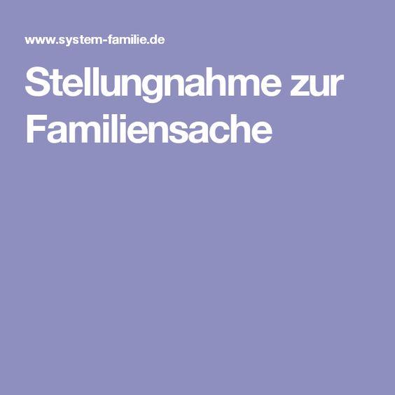 Stellungnahme zur Familiensache