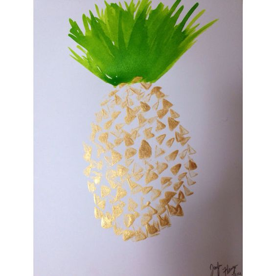 Original Pineapple Painting 9x12  Artist- Jennifer Flannigan