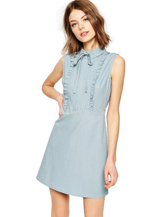 Bow Ruffles robe courte Slim Fit robe d'été