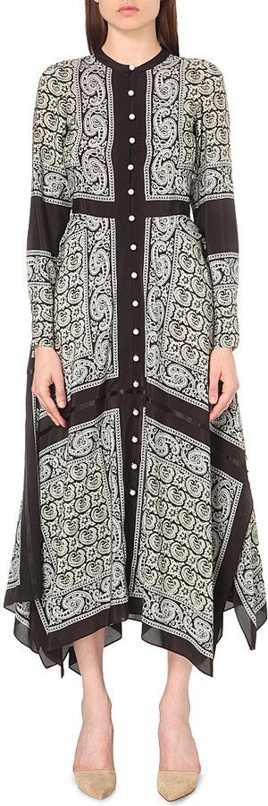 ALTUZARRA Winnie paisley-print silk maxi dress  Details: Whether worn alone or layered over knitwear, the long-sleeved Winnie maxi dress will bring a distinct bohemian feel to your new-season edit. Cut from fluid silk and printed with a vibrant paisley design, it's detailed with faux-button fastenings along the neckline and bodice, before falling into a breezy asymmetrical hemline.