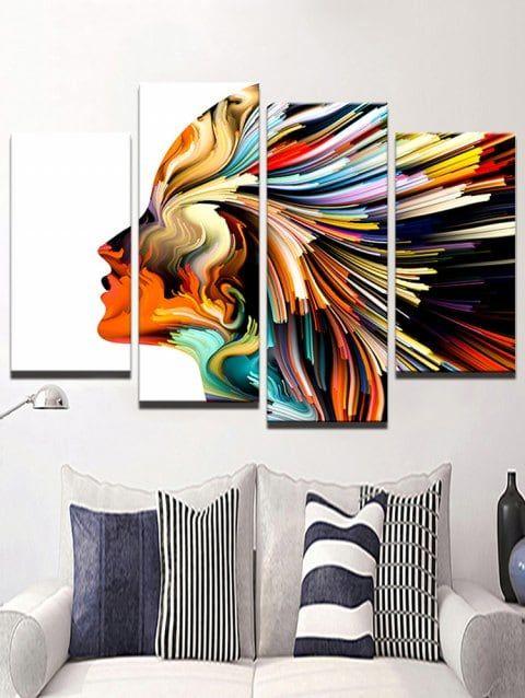 Colorful Face Print Unframed Split Canvas Paintings Multicolor 2pcs X 12 X 24 2pcs X 12 X 31 Inch Living Room Poster Canvas Wall Art Set Wall Art Living Room