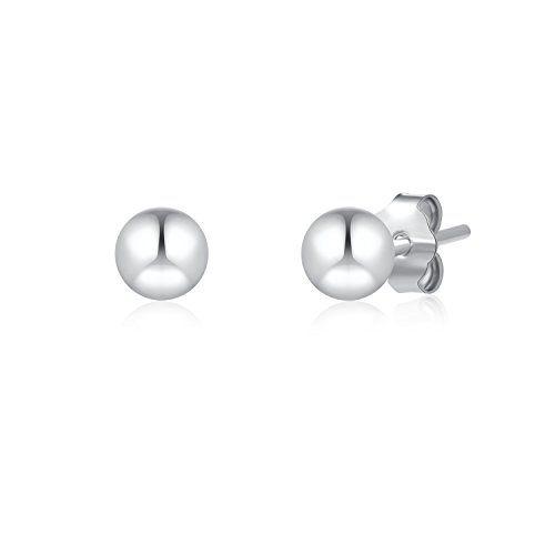 SILBERTALE 925 Sterling Silver 2mm-8mm Smooth Plain Ball Stud Earrings Men Women