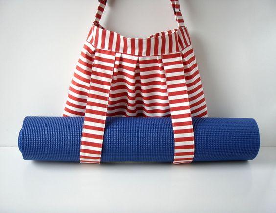 Yoga Tasche Red White Stripes für Yogamatte