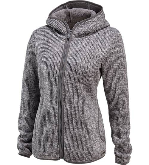 On the outside, this woman's sweater presents itself as is, a cozy knit hoodie for spontaneous social hikes; Inside, soft fleece wraps your body in fuzzy warmth.