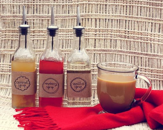Make your own coffee syrup! Cute gift idea.